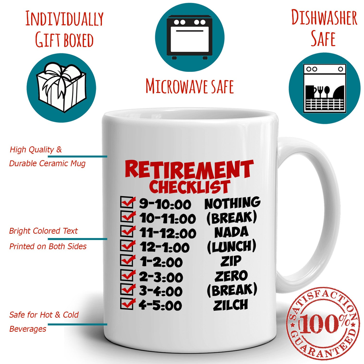 funny humorous retirement checklist gifts mug for men and women