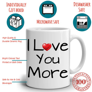 Romantic I Love You Gift His and Hers Coffee Mug, Perfect Husband Wife Couples Wedding Anniversary Valentines Day Present, Printed on Both Sides!, 2-Sets