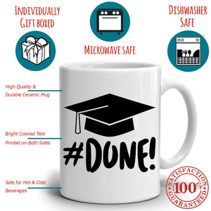 I'm Done College and High School Grad Gifts, Him and Her Graduation Gift Mug, Printed on Both Sides! - Stir Crazy Gifts