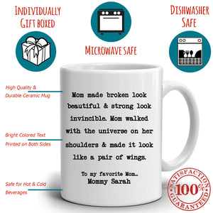 Personalized!! Perfect Gift for Mom from Daughter Coffee Mug, Unique Presents for Mothers Day, Birthday and Grandma Thank You Gifts