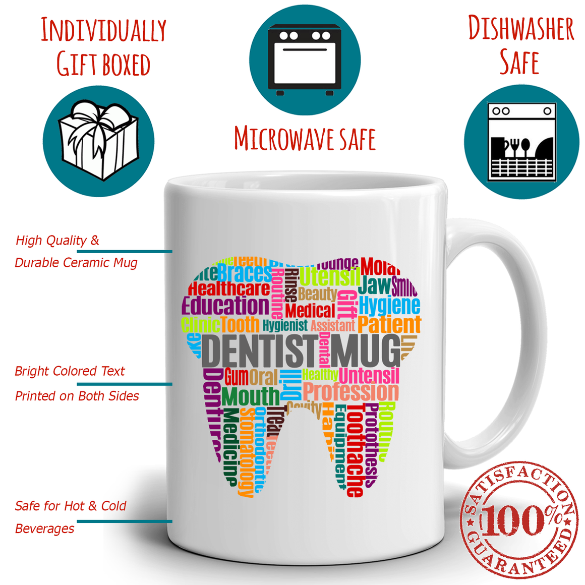 A Cool and Fun Dentist Coffee Mug is a Unique Gift idea for the Dental Profession, 100% Microwave and Diswasher Safe