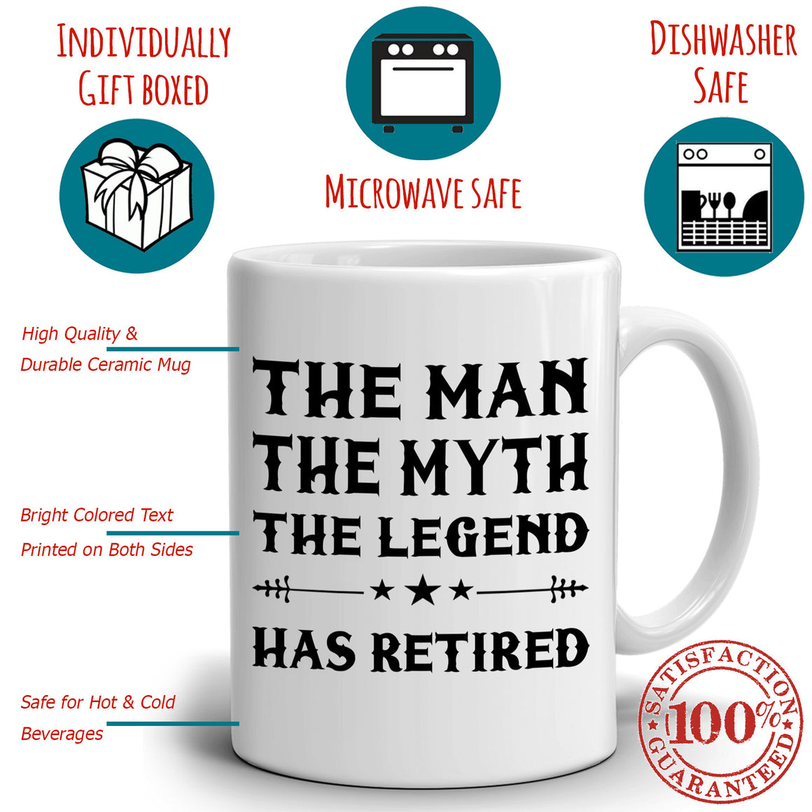 The Man The Myth The Legend Has Retired Coffee Mug, Perfect for Retirement Party, Printed on Both Sides!