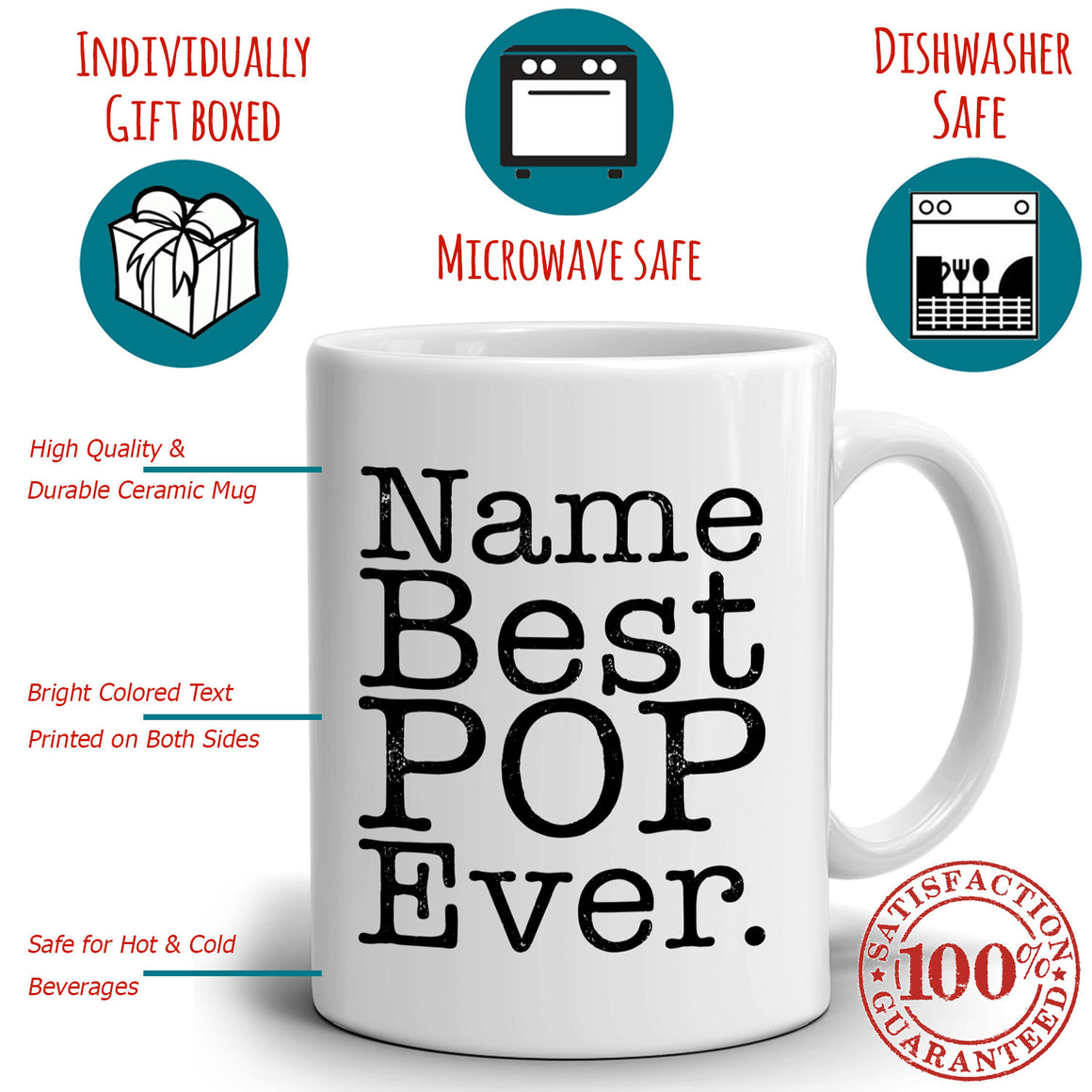 Personalized! Best Pop Ever Birthday and Fathers Day Gift Coffee Mug from Daughter for Daddy Papa Dad Uncle Godfather Grandfather and Grandpa, Printed on Both Sides!