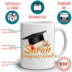 Personalized! Congrats Grad Gift Cap Coffee Mug, College Graduation Gifts for Her and Him, Printed on Both Sides! - Stir Crazy Gifts