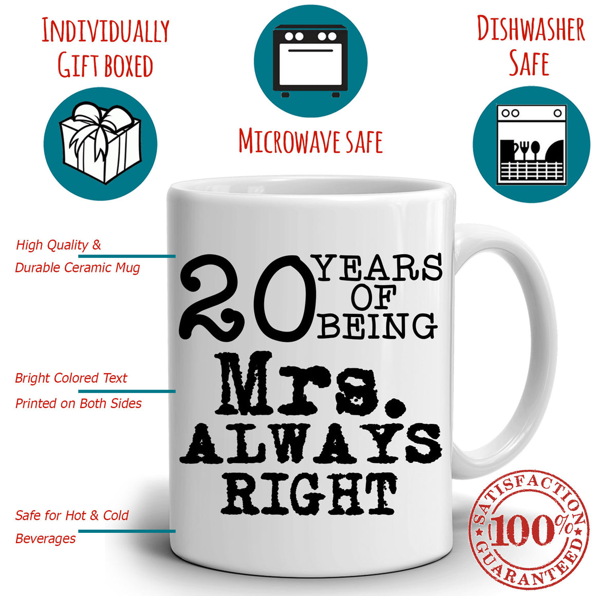 Personalized Number of Years Wedding Anniversary Couples Gift Coffee Mug, Romantic Present for Husband and Wife This Valentines Day, Printed on Both Sides! 2-Sets