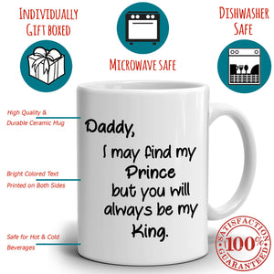 Daddy Birthday Gifts From Daughter, Fathers Day Gift for Papa and Dad Coffee Mug, Printed on Both Sides! - Stir Crazy Gifts