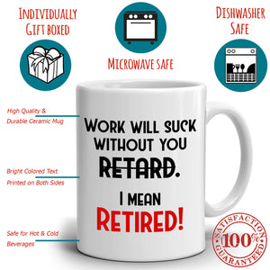 Funny Retirement Gag Gifts for Boss Coworkers Man and Women, Best Humor Coffee Mug, Printed on Both Sides! - Stir Crazy Gifts