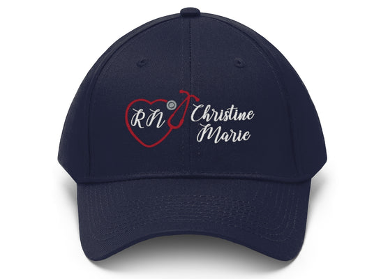 Personalized! Nurse Stethoscope Heart Embroidered Twill Hat, Unisex