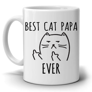 Best Cat Papa Ever, Funny Gifts for Dad, Grandpa, Father in Law Cat Lover Memes Birthday Coffee Mug Printed on Both Sides