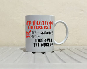 Graduation Checklist Plan Graduate and Take Over the World, Funny and Unique Grad Gifts, Printed on Both Sides!