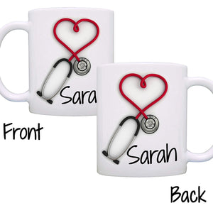Personalized! Stethoscope Coffee Mug, Unique Gift for Nurses & Doctors, Printed on Both Sides!