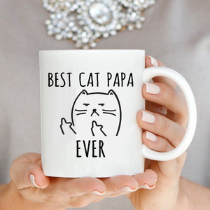Best Cat Papa Ever, Funny Gifts for Dad, Grandpa, Father in Law Cat Lover Memes Birthday Coffee Mug Printed on Both Sides - Stir Crazy Gifts