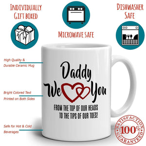 Dad Birthday Gifts from Daughters Mug Daddy We Love You Coffee Cup, Printed on Both Sides!