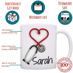 Personalized Nurses and Doctors Stethoscope Gift Mug - Stir Crazy Gifts