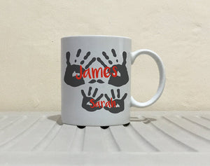Personalized!! Father Mother Daughter Son Name Hand Print Coffee Mug Perfect Fathers Birthday and Mothers Day Gifts, Printed on Both Sides!