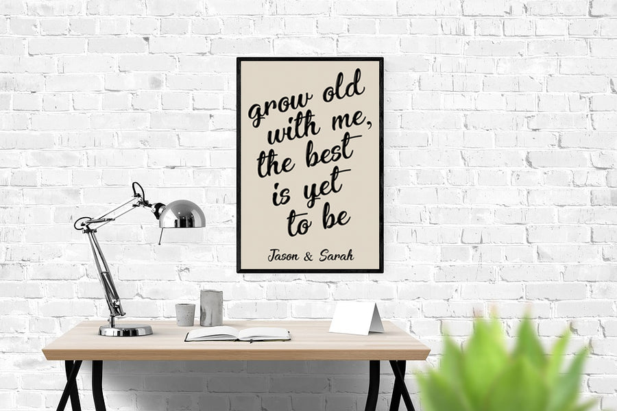 "Personalized! ""Grow Old With Me, The Best Is Yet To Be"" - Quality Canvas Wrap Decor Wall Art"