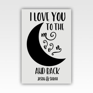 "Personalized! ""I Love You to the Moon and Back"" Sweet, Romantic Couples Gift - Canvas Wall Art Decor"
