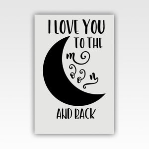 "Personalized! ""I Love You to the Moon and Back"" Sweet, Romantic Couples Gift - Canvas Wall Art Decor - Stir Crazy Gifts"