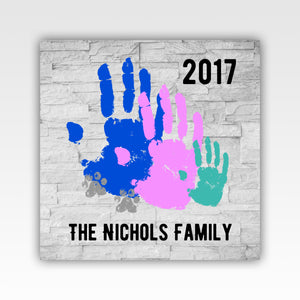 Personalized!! Family Hand Print Wall Art Canvas Wrap Decor Print Gifts