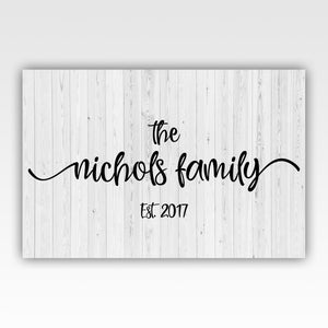 Personalized! Family Name Sign Wall Art Décor Canvas Wrap Print
