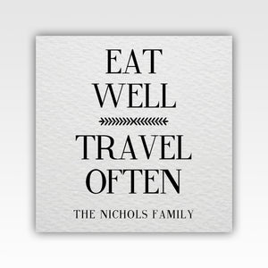 Personalized! Eat Well Travel Often Family Canvas Wrap Gifts Wall Art Décor