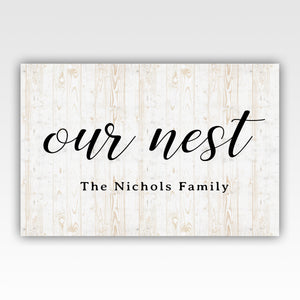 Personalized!! Family Name Gift Our Nest, Home Decor Canvas Wrap Wall Art Print