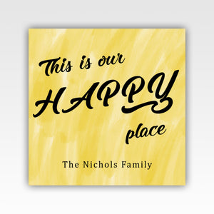 Personalized!! This Is Our Happy Place Family Wall Art Decor Canvas Wrap Gifts