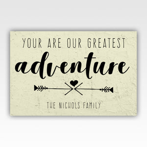 Personalized!! You Are Our Greatest Adventure Family Name Canvas Wall Art Home Decor Gift