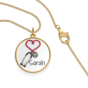 Personalized! 18K Gold Plated Nurses and Doctors Stethoscope Pendant Necklace Jewelry Gift for Women - Stir Crazy Gifts