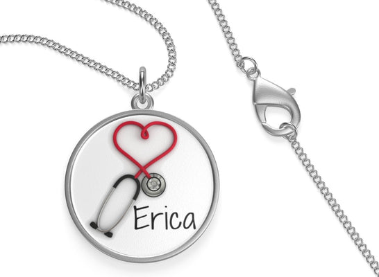 Personalized! Sterling Silver Nurses and Doctors Stethoscope Pendant Necklace Jewelry Gift for Women