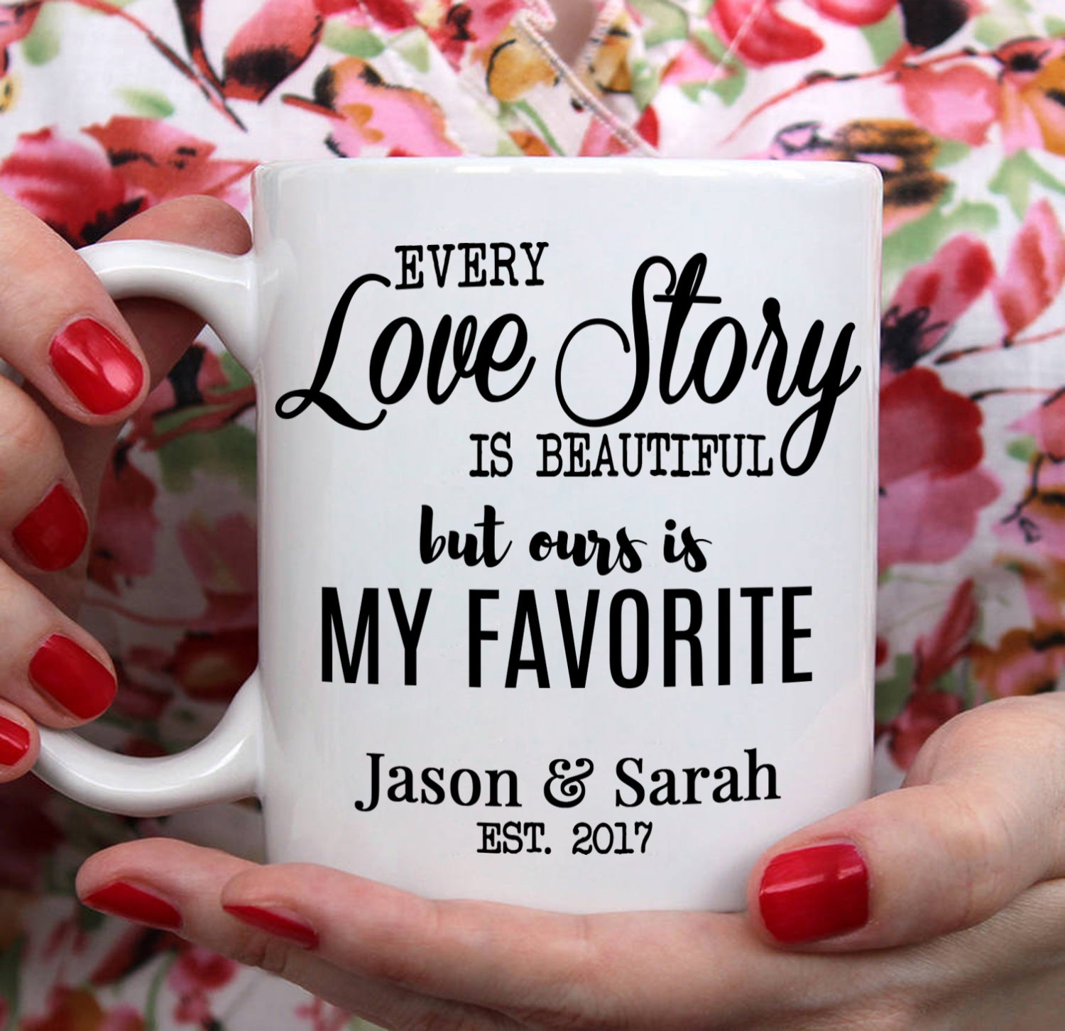 Romantic I Love Him and Her Couples Coffee Cup Set - Stir Crazy Gifts