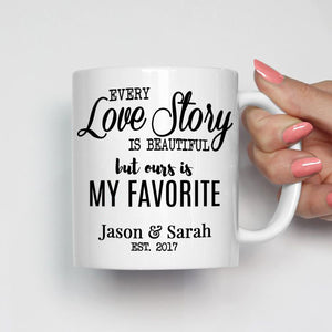 Personalized Romantic Couples Names Gift Coffee Mug for Wedding Anniversary Valentines Day and Christmas, Printed on Both Sides! - Stir Crazy Gifts