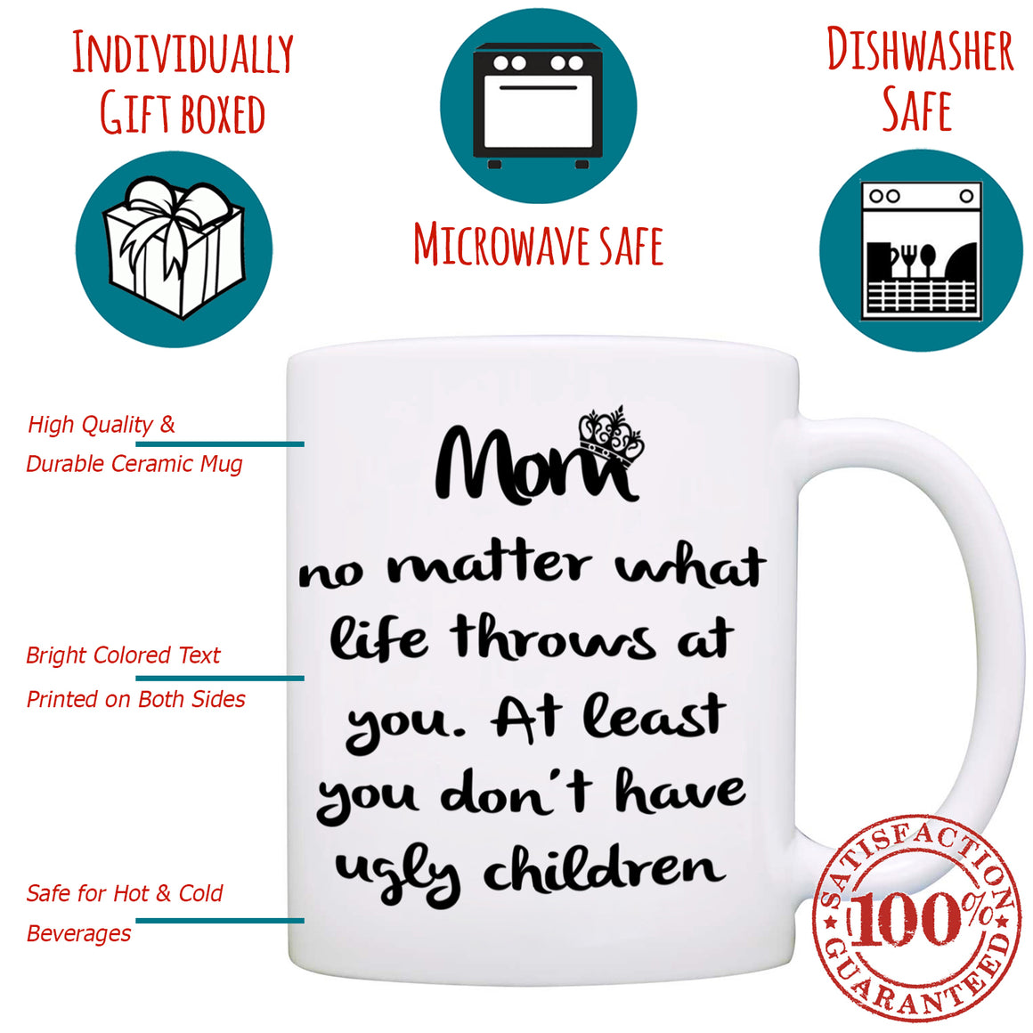 """No Ugly Children!"" Funny Mom, Mama, Mother Coffee Mug - Printed on both sides!"