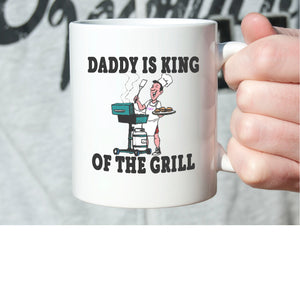 Funny Father Gifts Mug Daddy is King of The Grill Coffee Cup, Printed on Both Sides! - Stir Crazy Gifts
