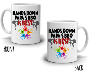 Funny Gag Gifts for Dad Mug Hands Down Papa's BBQ is Best Coffee Cup, Printed on Both Sides! - Stir Crazy Gifts