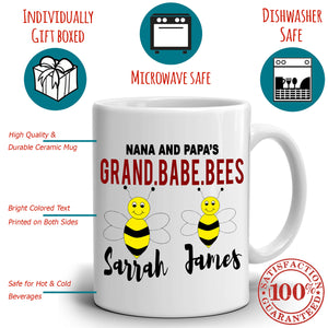 Personalized! Nana and Papa Gifts Mug Grand Babe Bees Coffee Cup, Printed on Both Sides!