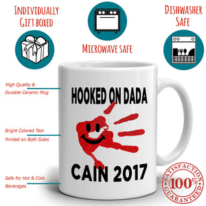 Personalized! Papa Gifts Mug Hooked on Dada Coffee Cup, Printed on Both Sides!
