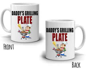 Birthday Gift for Chef Dad Mug, Daddy's Grilling Plate Coffee Cup, Printed on Both Sides!
