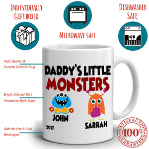 Personalized! Daddy's Little Monsters Son and Daughter Gifts Mug for Dad Papa Fathers Day and Birthday, Printed on Both Sides!