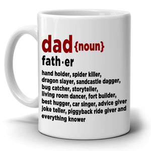 Dad Definition Funny Coffee Gift Mug Perfect Novelty Birthday Fathers Day Christmas Gifts for Papa, Printed on Both Sides!