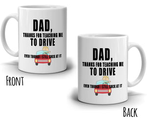 Funny Gag Thank You Dad Birthday Gifts from Son Coffee Mug, Printed on Both Sides! - Stir Crazy Gifts