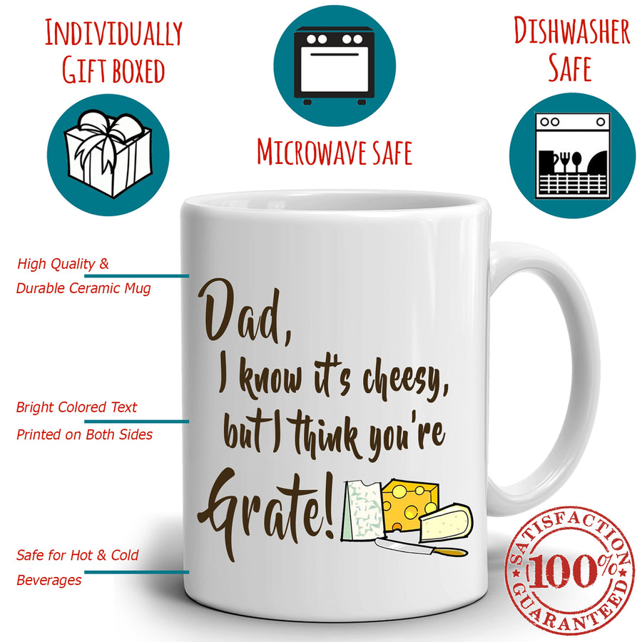Funny Cooking Daddy Birthday Gifts Mug Dad I know It's Cheesy But I Think You're Grate, Printed on Both Sides!