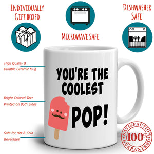 Cool Dad Gifts Mug Your'e The Coolest Pop Coffee Cup, Printed on Both Sides!