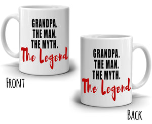 Grandpa The Man The Myth The Legend Coffee Gifts Mug for Grandfather, Printed on Both Sides!