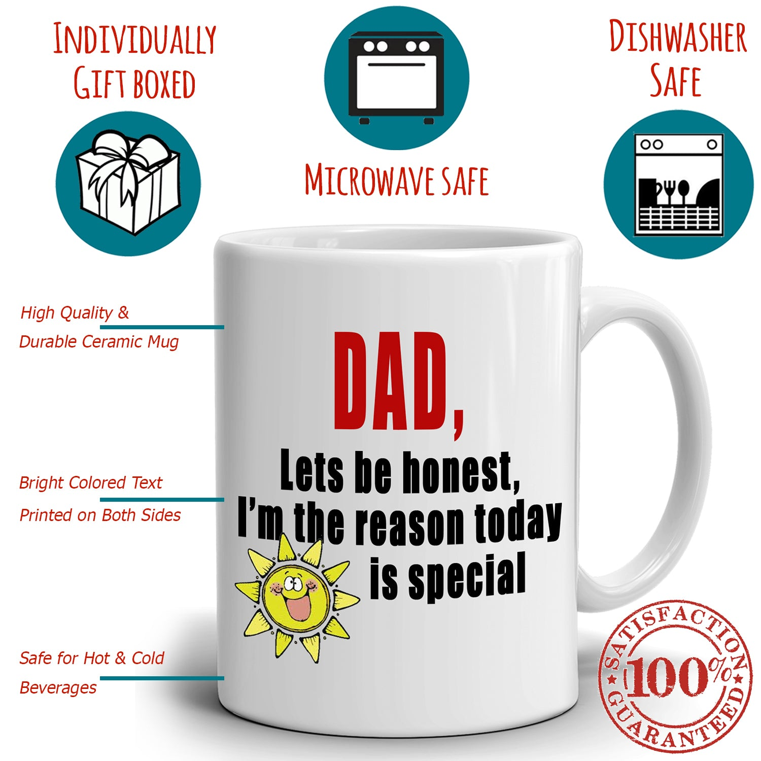 Cute Fathers Day Birthday Gift From Daughter Mug To Papa Dad Daddy Printed On Both