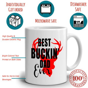 Best Buckin Dad Ever Fathers Day Birthday Gifts for Papa Mug, Printed on Both Sides!