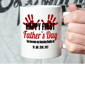 Personalized! Happy Fathers First Day Gifts Mug You Become My Amazing Dad, Printed on Both Sides!