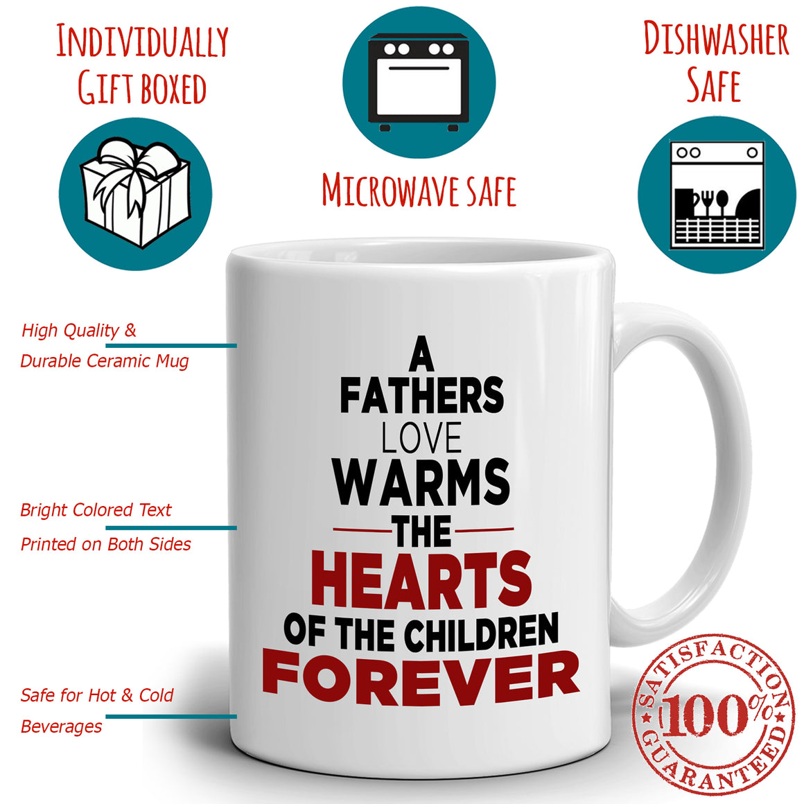 Inspirational Dad Grandpa Birthday Gifts Mug A Fathers Love Warms The Hearts Of The Children Forever, Printed on Both Sides!
