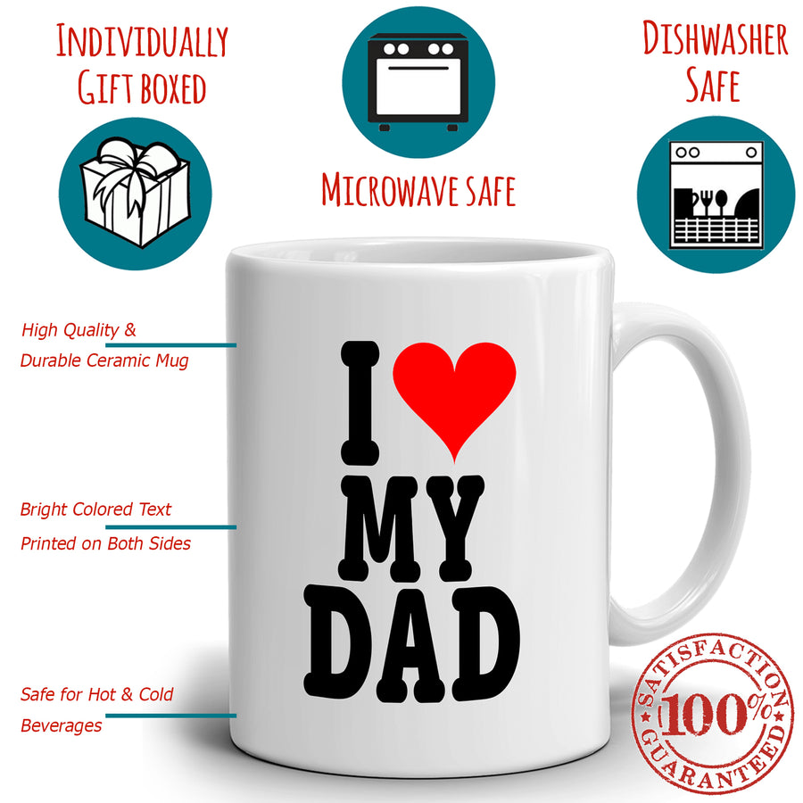 I Love My Dad Cute Christmas Fathers Day and Birthday Gifts for Papa, Printed on Both Sides!