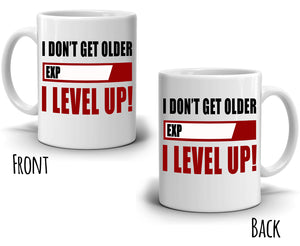 Funny Daddy Grandpa Gifts Coffee Mug I Don't Get Older Exp I Level Up, Printed on Both Sides! - Stir Crazy Gifts